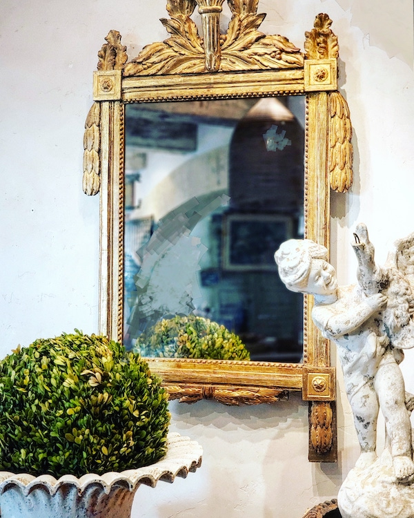 Beautiful 18th Century Carved French Gilt Mirror with Flaming Torch Laurel