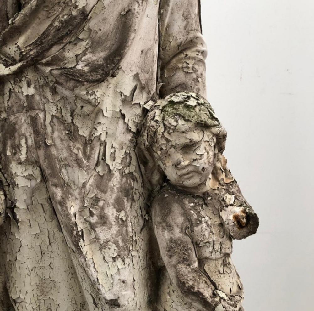 18th Century Italian Plaster Statue Saint With Children
